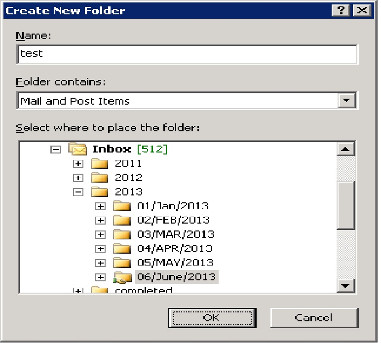 This is the folder im  trying to create, but it faisl anywhere within the mailbox