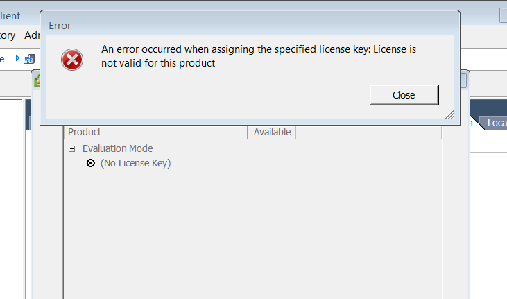 license error