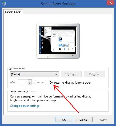 On resume display logon screen