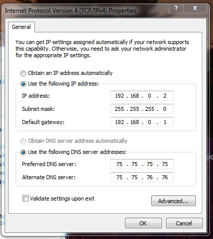 Example Static LAN Address