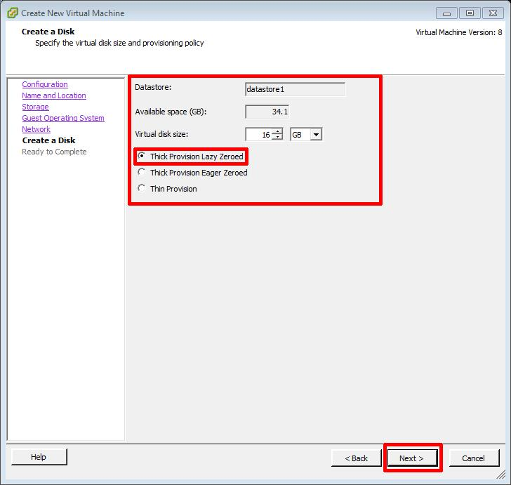 Create New Virtual Machine - virtual disk size