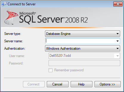 SQL Server Management Studio Connect To Server prompt