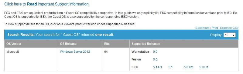 ESXi 5.0 U1 support for Windows 2012