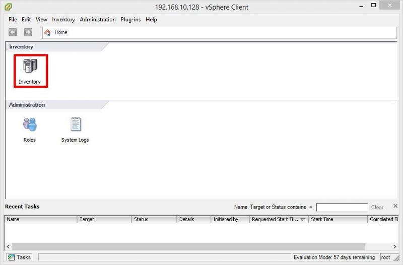 vSphere Client Connected to VMware vSphere Hypervisor (ESXi) Host Server