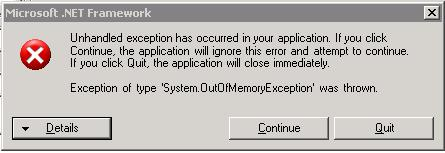 out of memory exception