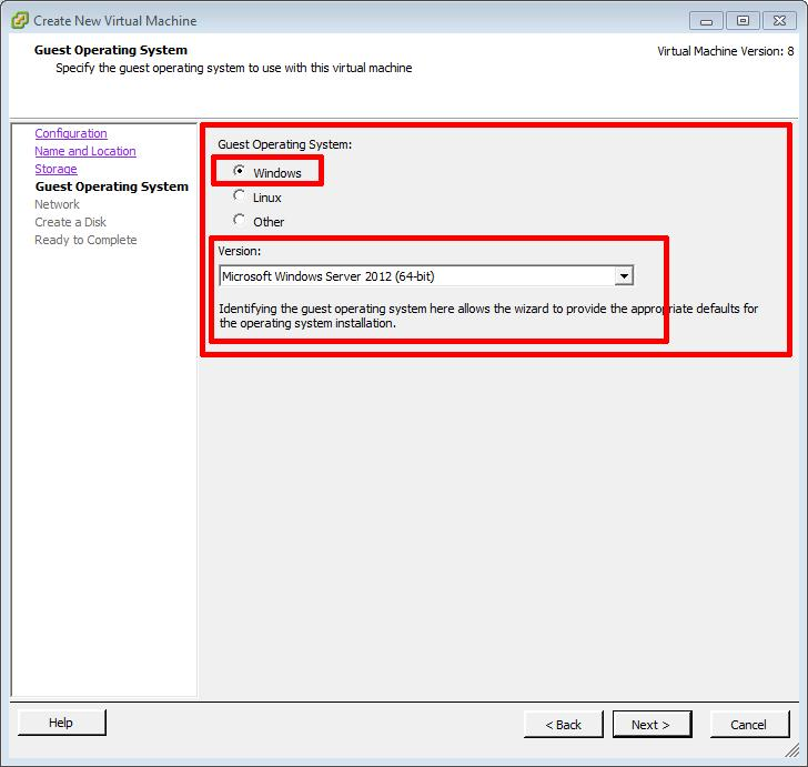 Create New Virtual Machine - OS Selection - Microsoft Windows Server 2012 (64-bit)