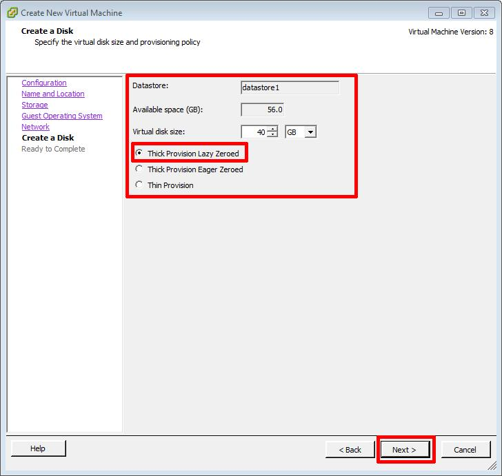 Create New Virtual Machine - virtual disk size