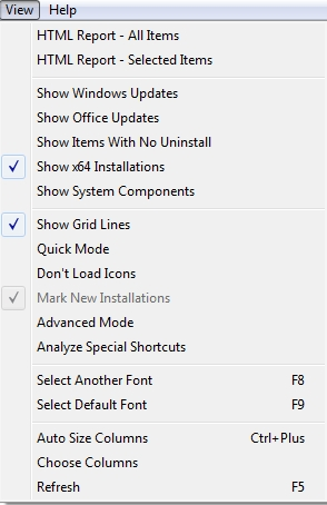 MyUninstaller View menu