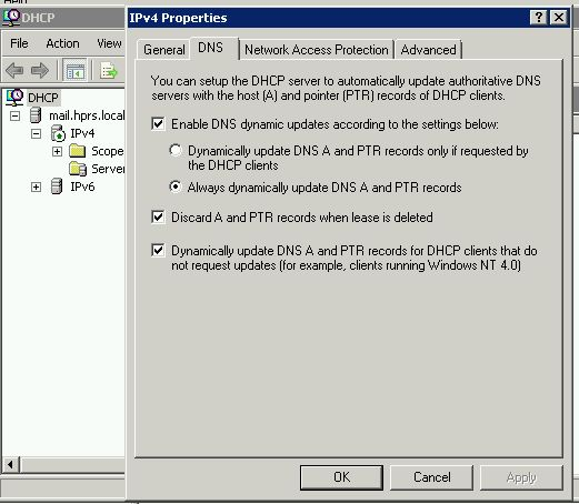 DNS update for DHCP
