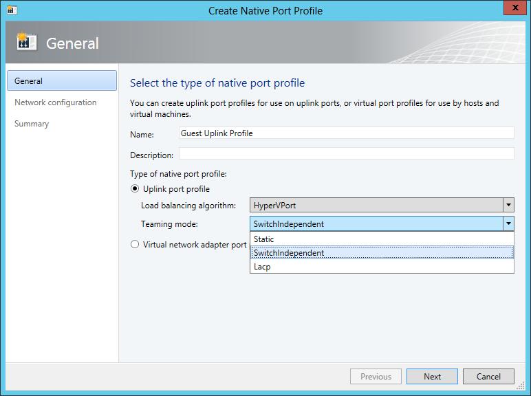 Create Native Port Profile