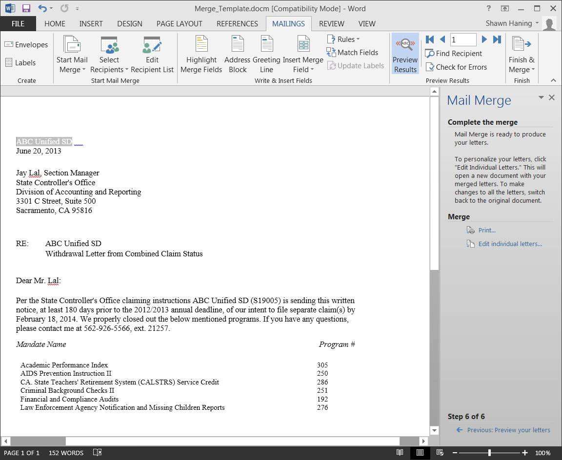 Office 2013 - Excel to Word mail merge - each record saves as ...