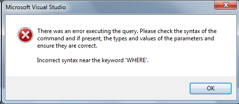 Parameters error box