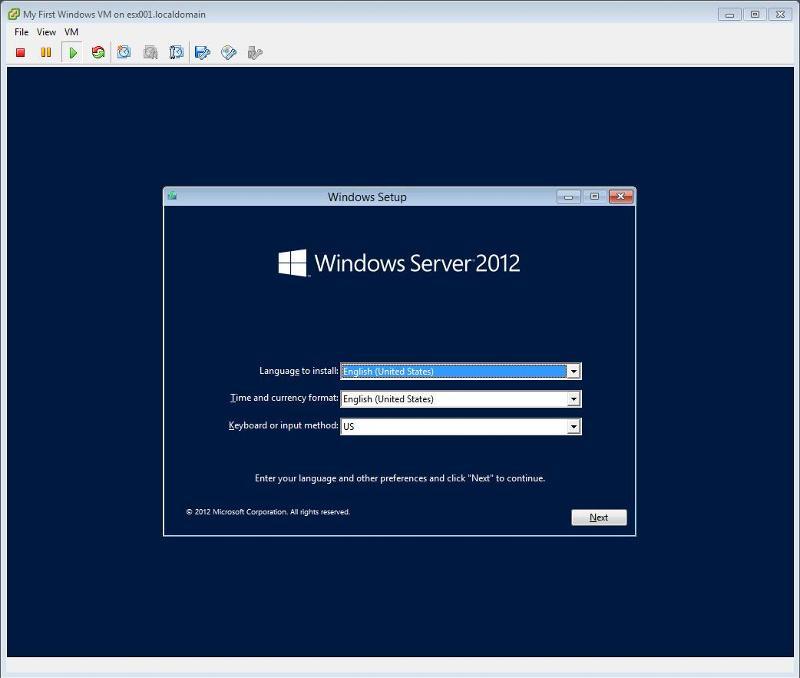 Windows 2012 Installation - Select Language and Keyboard