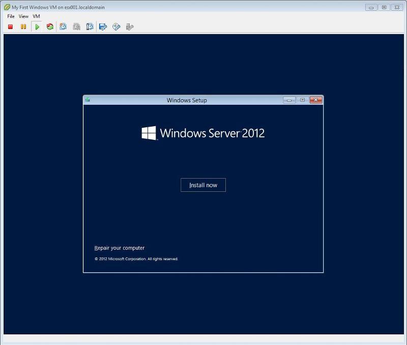 Windows 2012 Installation -  Click Install