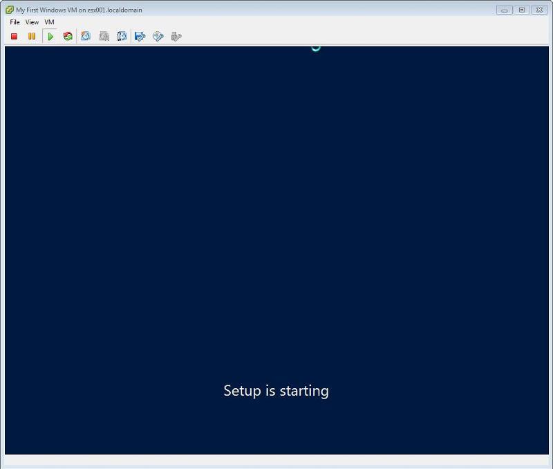Windows 2012 Installation -  Setup is starting