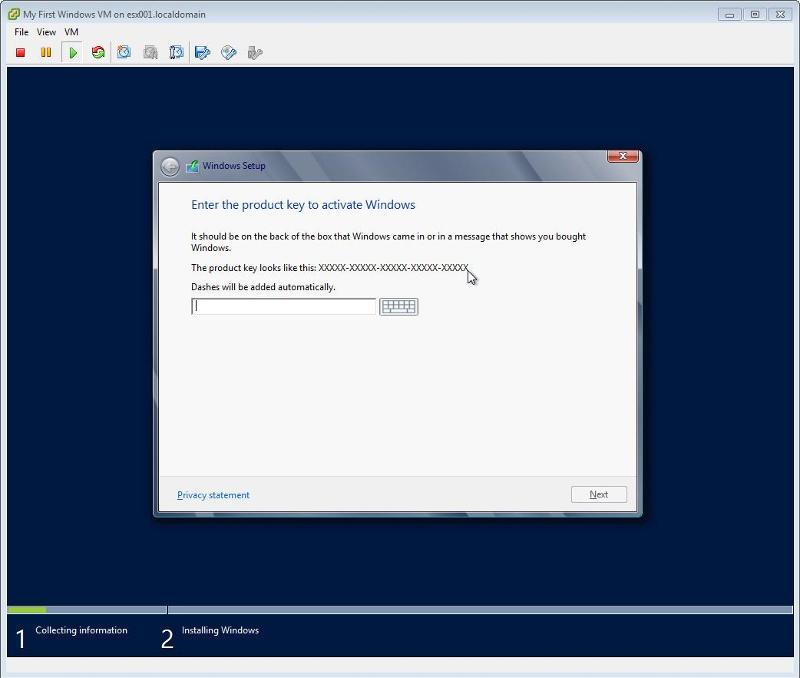 Windows 2012 Installation -  Enter Product Key