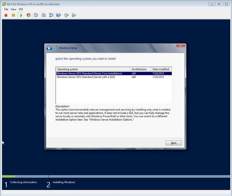Windows 2012 Installation -  Select GUI or Core