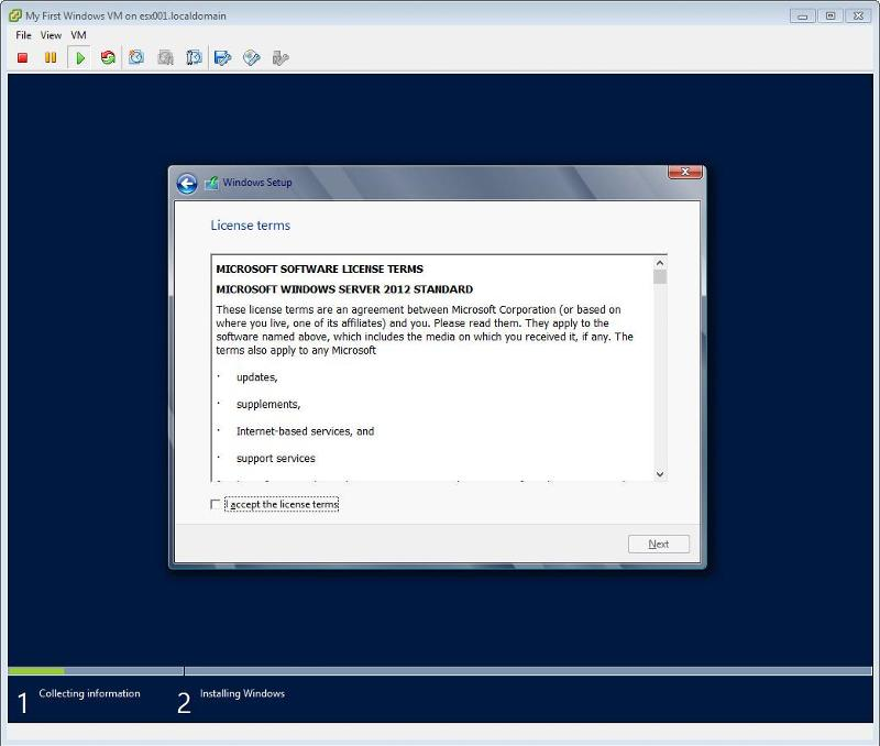 Windows 2012 Installation -  License Terms