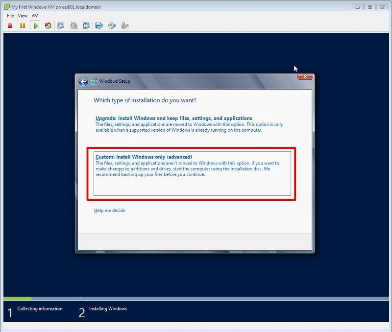 Windows 2012 Installation - New Install