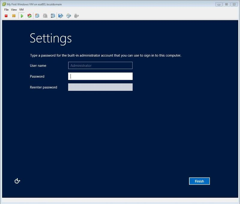 Windows 2012 Installation -  Enter admin password