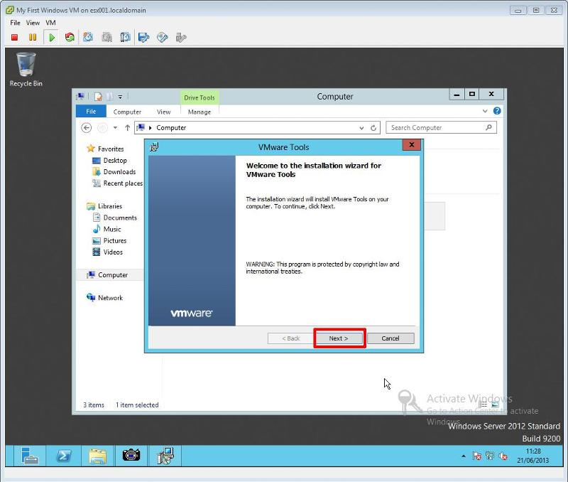 VMware Tools for Windows Installation Step 5 - VMware Tools Installation Click Next to start