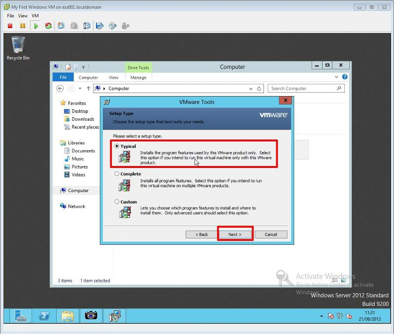VMware Tools for Windows Installation Step 6 - VMware Tools Installation Select Typical