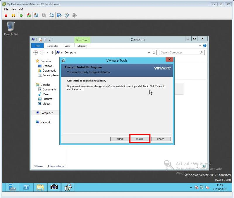 VMware Tools for Windows Installation Step 8 - VMware Tools Installation Click Install