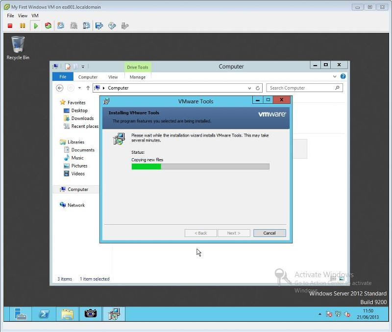 VMware Tools for Windows Installation Step 9 - VMware Tools Installing Copying Files