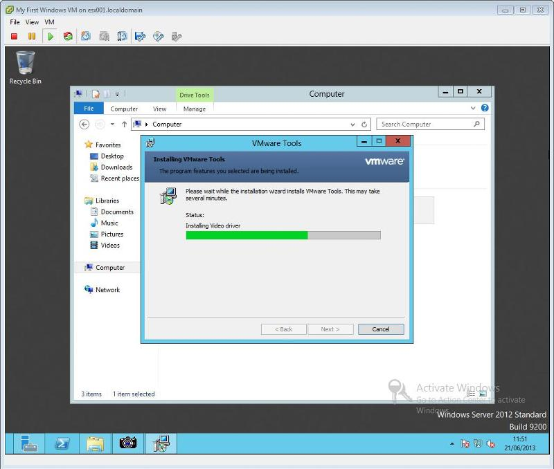 VMware Tools for Windows Installation Step 9 - VMware Tools Installing Drivers