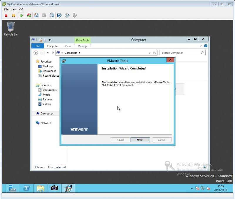 VMware Tools for Windows Installation Step 9 - VMware Tools Installation Completed