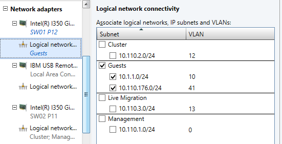 Logical network connectivity