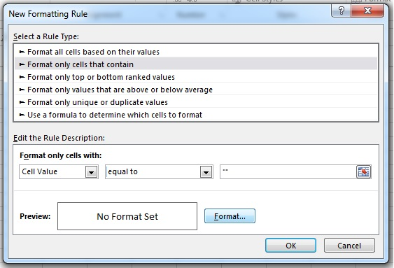 """Enter the rule as =""""""""     then choose """"Format"""" to alter the colors"""