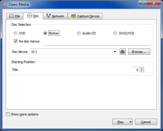vlc2.0.1 disc selection