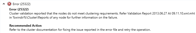 Nodes not suitable for clustering