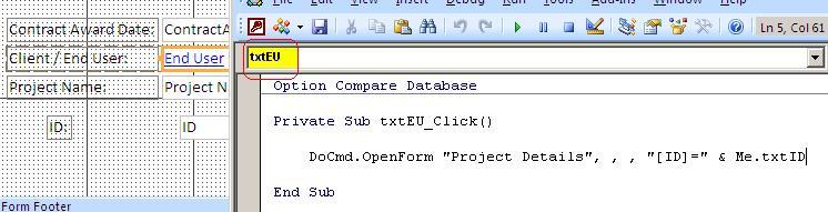 OpenForm,txtEU