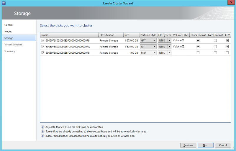 Select disks to cluster