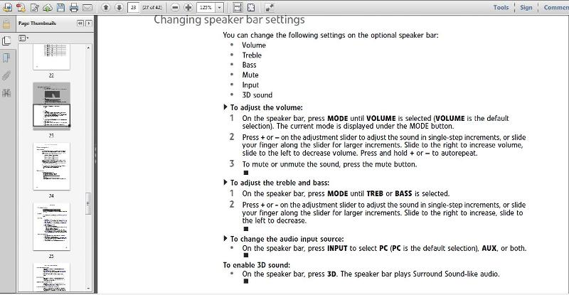 Page 23 changing speakerbar settings