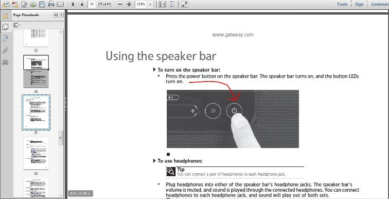 Turn on speaker bar