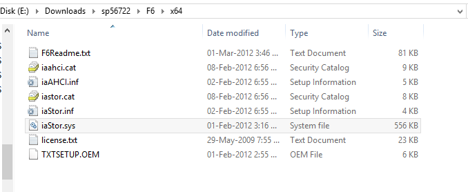 contents of the f6 x64 directory