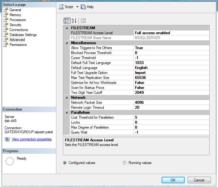 DB Server properties