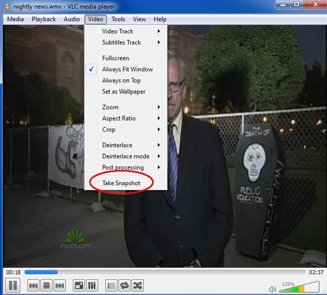 VLC take snapshot