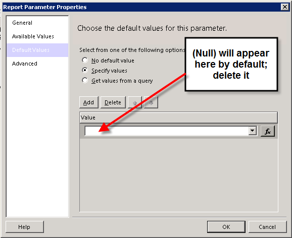 SOLUTION] SSRS, null values, but no default