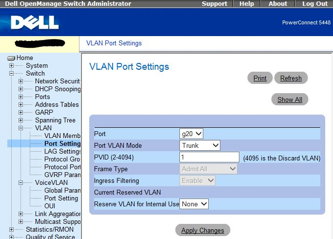 Dell 5448 Switch VLAN Port options
