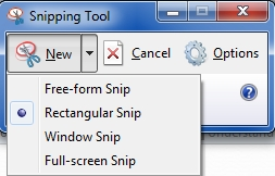 Snipping Tool with drop-down menu