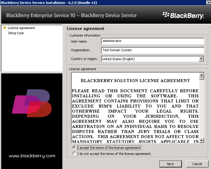 Blackberry administration service installation windows login password cannot open windows update page xp