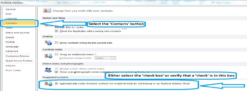 Create Outlook 2010 Contacts Option Screenshot