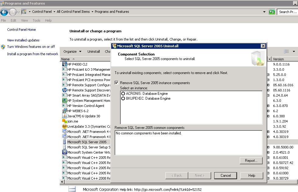 SOLUTION] can't uninstall SQL server 2005