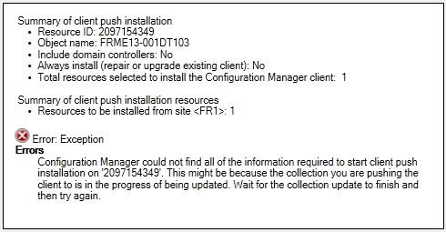 Unable to deploy SCCM client