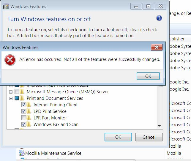 Windows 7 - File & Print sharing not saving setting