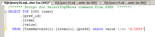 screenshot of SQL query